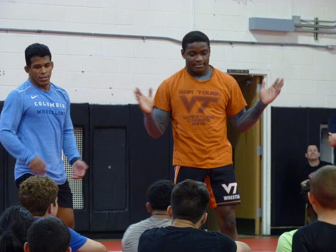 A wrestling clinic was held on Saturday, June 29 at the Bound Brook High School gym led by Bound Brook graduates Mekhi Lewis, an NCAA champion now at Virginia Tech, Somerville High School Wrestling Coach Andrew Flanagan, Columbia University Assistant Wrestling Coach Nestor Taffur, and Andrew Campolattano.