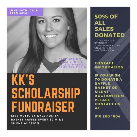 """A flier for the scholarship fundraiser for Micalla """"KK"""" Rettinger."""