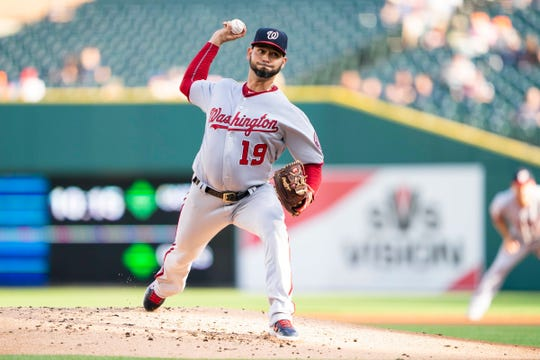 Washington Nationals' Anibal Sanchez  pitches against the Detroit Tigers on Friday, June 28, 2019, in Detroit.