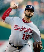 Nationals' Anibal Sanchez pitches against the Tigers during the second inning Friday.