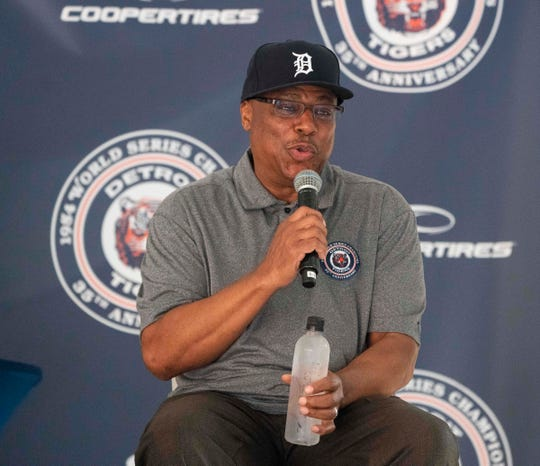 Detroit Tigers former second baseman Lou Whitaker responds to questions during the 35th anniversary of the Detroit Tigers winning the World Series question and answer session at Comerica Park, June 28, 2019.