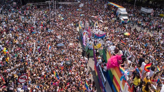 Revelers participate in the gay pride parade in Mexico City, Saturday, Jun. 29, 2019.