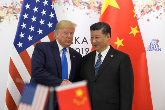 President Donald Trump and Chinese President Xi Jinping during a meeting on the sidelines of the G-20 summit in Osaka, Japan, Saturday, June 29, 2019.
