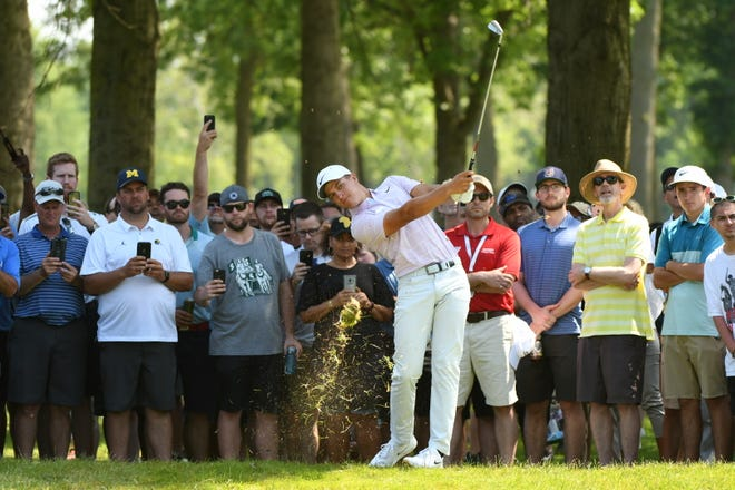 Cameron Champ's third-round 75 included a mighty blast where he overshot the 14th green by a wide margin on Saturday.
