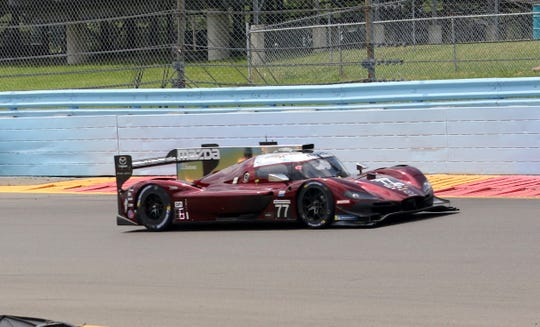 Oliver Jarvis drives the No. 77 Mazda Team Joest Daytona Prototype International to the pole for the Sahlen's Six Hours of The Glen on June 29, 2019 at Watkins Glen International.