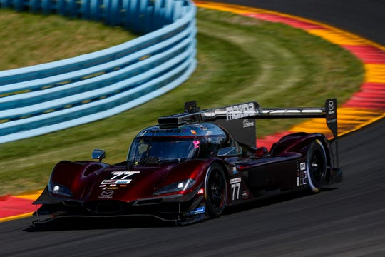 The No. 77 Mazda Team Joest DPi of Oliver Jarvis, Tristan Nunez and Timo Bernhard during practice June 28, 2019 at Watkins Glen International.
