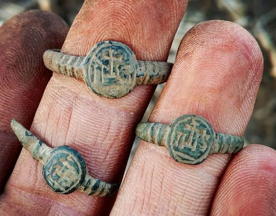 These brass cast Jesuit rings were found by John Ruth of Fond du Lac in a location where the French once camped in Wisconsin.