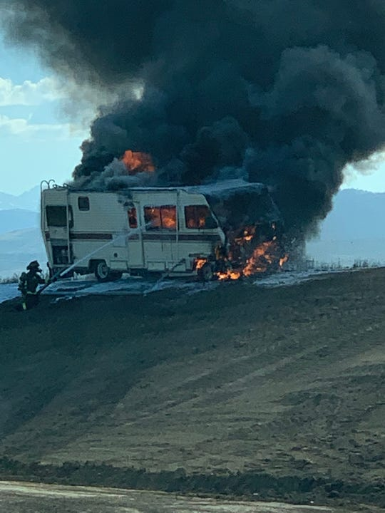 Craig Fox captured this image of an RV burning on the northbound Prospect Road off-ramp of Interstate 25 near Fort Collins on Friday, June 28, 2019.