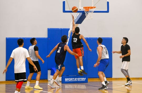 Members of the Guam men's basketball team practice at the GBC National Training Center in Tiyan on Wednesday, June 26, 2019.