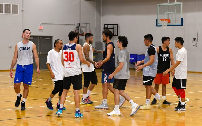 In this June 26 file photo, members of the Guam men's basketball team after a practice session at the GBC National Training Center in Tiyan.