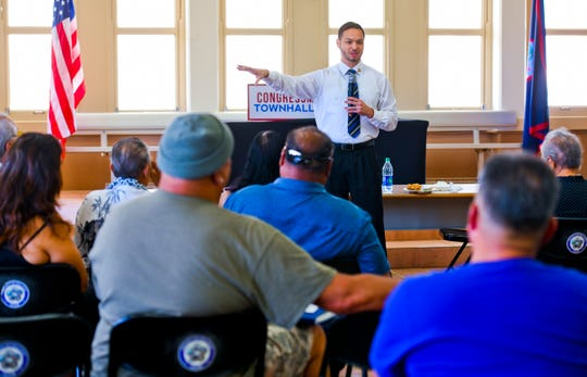 Guam Del. Michael San Nicolas speaks to residents in attendance during an omnibus town hall meeting he hosted at the Inarajan Community Center on Saturday, June 29, 2019.