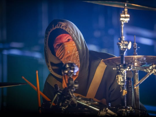 Josh Dun performs with Twenty One Pilots Friday, June 28, 2019, at Bankers Life Fieldhouse.