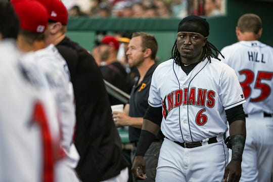 Trayvon Robinson, an outfielder for the Indianapolis Indians, stands in the dugout during a game against the Louisville Bats at Victory Field in Indianapolis, Monday, June 25, 2019.