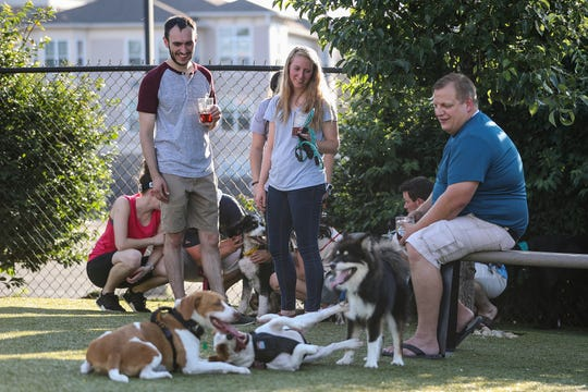 From left, Jon Will, Tabatha Will and Peter Ridder watch Ridder's dogs play together at Metazoa Brewing Company's remodeled dog park in Indianapolis on Thursday, June 27, 2019.