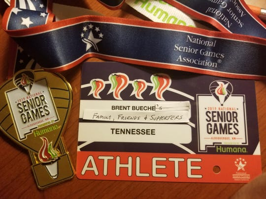 Brent Bueche's modified credential at the 2019 National Senior Games in Albuquerque, NM.