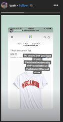 "A screenshot of T-Pain's Instagram story is seen. On the day of his Summerfest show he revived a 2018 merch campaign playing on his pronunciation of ""Wisconsin"" in a 2008 song to rhyme with ""mansion."""