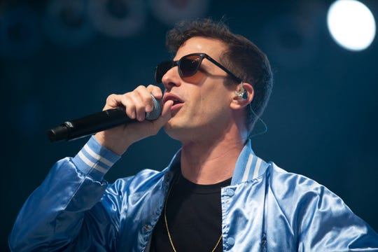 The Lonely Island featuring Andy Samberg performs at the Miller Lite Oasis on June 28, 2019.
