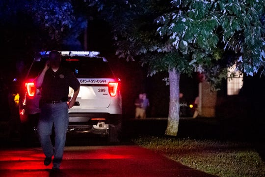 Police officers respond to an officer involved shooting on the 100 block of Chestnut Street in Smyrna, Tenn., Friday, June 28, 2019. The Tennessee Bureau of Investigation reported that one male was killed after Smyrna police responded to a domestic situation in a residential area.