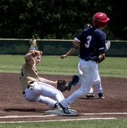 Slade Norris of Zanesville, playing for 17-U Athletics, beats out one of his three infield hits Saturday against the Wooster Golden Gloves at Mount Vernon Nazarene.