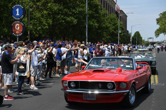 A parade on the newly named Seaver Way between Northern Blvd. and Roosevelt Ave. featuring vintage Ford convertibles carrying members of the 1969 championship team as part of the Mets' 1969 50th Anniversary Celebration before the start of a game against the Braves at Citi Field on Saturday, June 29, 2019.