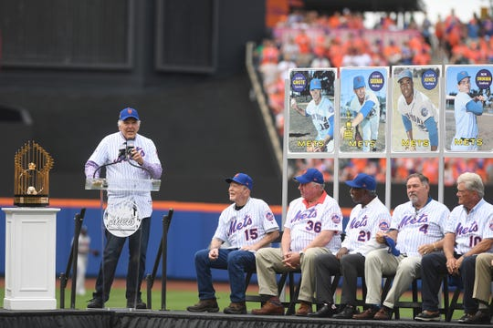 Ed Kranepool of the 1969 Mets championship team speaks during a 50th Anniversary Celebration before the start of a game against the Braves at Citi Field on Saturday, June 29, 2019.