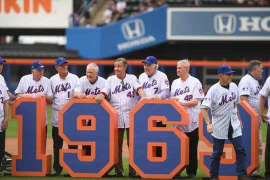 Members of the 1969 Mets championship team during a 50th Anniversary Celebration before the start of a game against the Braves at Citi Field on Saturday, June 29, 2019.