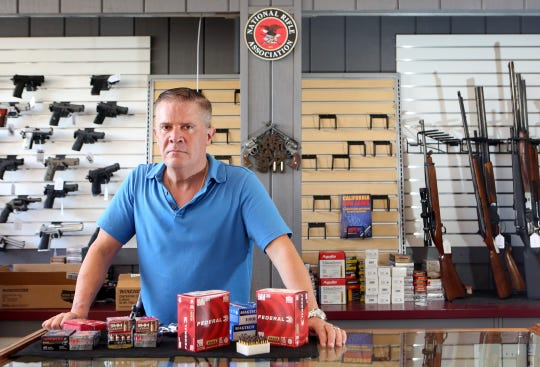 Storm Jenkins said his Palm Desert gun shop, Guns of Distinction, has done more business in March 2020 than all of 2019 as coronavirus stoked concern about public safety.
