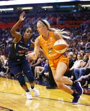 Phoenix Mercury guard Sophie Cunningham drives the baseline against the Indiana Fever in the first half on June 28, 2019 in Phoenix, Ariz.
