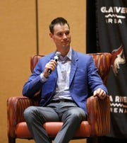 Coyotes GM John Chayka answers questions from Matt McConnell (R) at Renaissance Phoenix Glendale Hotel & Spa in Glendale, Ariz. on June 28, 2019.