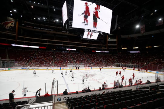 Coyotes players prepare for the start during a scrimmage at Gila River Arena in Glendale, Ariz. on June 28, 2019.