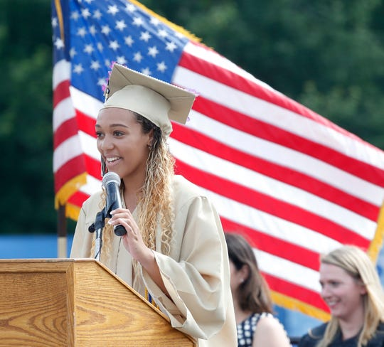 Class president Sierra Shields speaks during the Beacon High School graduation ceremony at Dutchess Stadium in Fishkill on June 29, 2019.