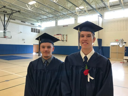 Evan Proper and Gus Westphal pose before Stissing Mountain High School's graduation on Saturday.