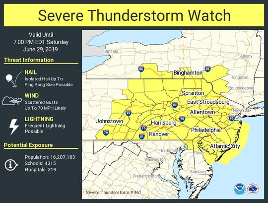 A severe storm will bring hail, lightning and heavy wind to most of Pennsylvania on Saturday afternoon, according to the National Weather Service.