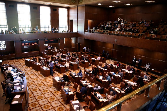A senate floor session at the Oregon State Capitol in Salem on June 29, 2019. Republican senators returned to the Capitol Saturday morning after walking out more than a week ago in protest of a sweeping greenhouse gas emissions cap-and-trade bill.