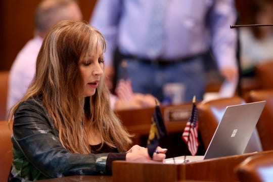 Sen. Kim Thatcher, R-Keizer, attends a floor session at the Oregon State Capitol in Salem on June 29, 2019. Republican senators returned to the Capitol Saturday morning after walking out more than a week ago in protest of a sweeping greenhouse gas emissions cap-and-trade bill.