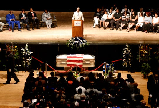 Shreveport postal worker Antonio Williams, who was fatally shot while on his route, funeral service at the Shreveport Municipal Auditorium Saturday June 29, 2019.