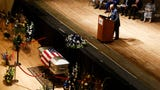 Pastor Joe Williams speaks at the funeral of Shreveport postal worker Antonio Williams.