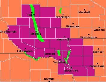 Much of southeast South Dakota is under an excessive heat warning until 9 p.m. Saturday, June 29, 2019.