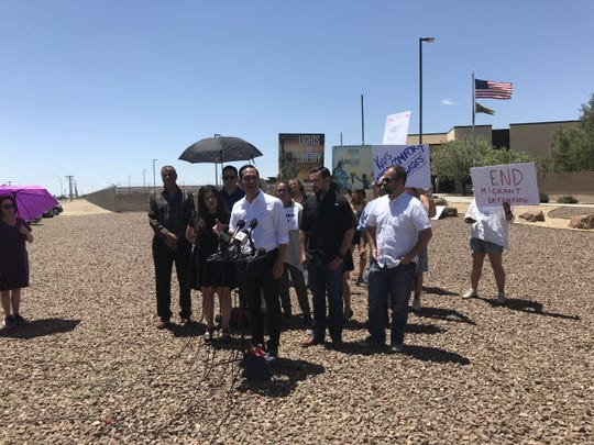 Presidential candidate Julián Castro discusses the immigration system and ways he would reform it Saturday, June 29, 2019, outside the Border Patrol Station in Clint.