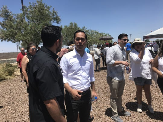 Presidential candidate Julián Castro and El Paso's state representatives talk to the news media about the immigration system Saturday, June 29, 2019, outside the Border Patrol Station in Clint.