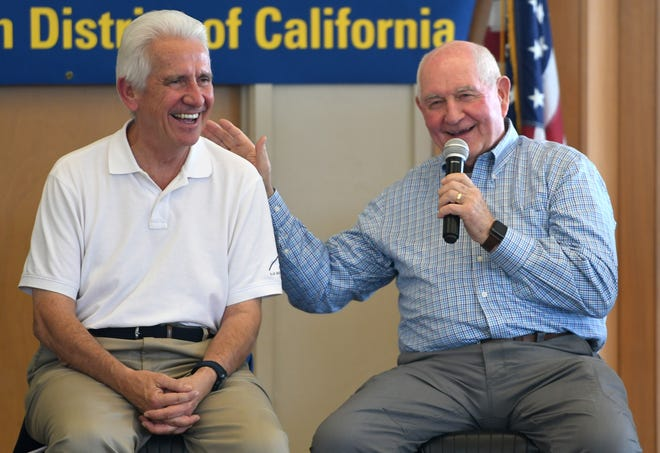 More than 150 Valley growers flooded the Los Banos Fairgrounds Park in Merced County on June 28, 2019, for a town hall meeting with Secretary of Agriculture Sonny Perdue, right, and Reps. Jim Costa (D-Fresno), Josh Harder (D-Turlock), Doug LaMalfa (R-Richvale) and TJ Cox (D-Turlock). Immigration reform and the looming USMCA trade agreement were among growers' biggest concerns.