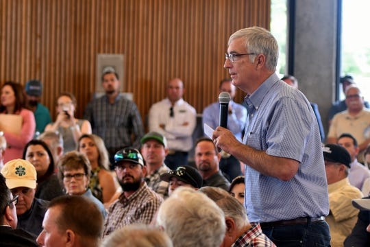 More than 150 Valley growers flooded the Los Banos Fairgrounds Park in Merced County on June 28, 2019, for a town hall meeting with Secretary of Agriculture Sonny Perdue and Reps. Jim Costa (D-Fresno), Josh Harder (D-Turlock), Doug LaMalfa (R-Richvale) and TJ Cox (D-Turlock). Immigration reform and the looming USMCA trade agreement were among growers' biggest concerns.