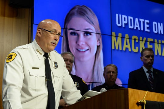 Salt Lake City Police Chief Mike Brown holds a news conference on Friday, June 28, 2019 in Salt Lake City.   Brown said Ayoola A. Ajayi was being charged with aggravated murder, kidnapping and desecration of a body in the death of 23-year-old Mackenzie Lueck.  He was arrested without incident earlier Friday morning by a SWAT team.  (Francisco Kjolseth /The Salt Lake Tribune via AP)