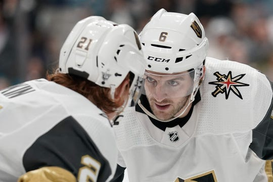 Vegas Golden Knights defenseman Colin Miller (6) is heading to the Buffalo Sabres in a trade.