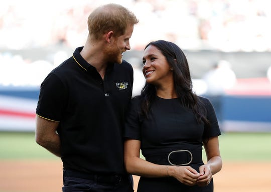 Prince Harry and Duchess Meghan at the Red Sox-Yankees game in London Stadium.