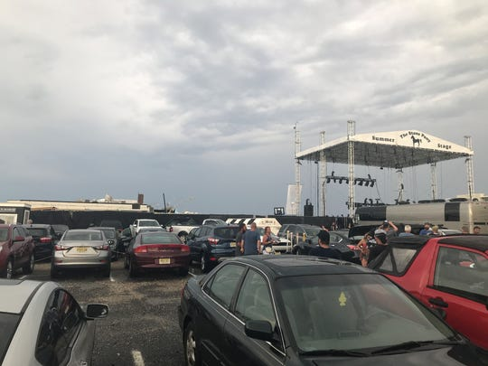 The scene at the Stone Pony summer stage after a powerful thunderstorm blew through the region Saturday night. Some scaffolding appears to have fallen against the iconic music club.