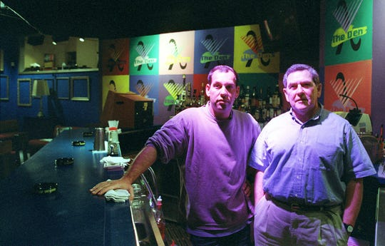 The late Richard Mack, right,  and his son Peter behind the bar at the former Den in Somerset on June 2, 1998.