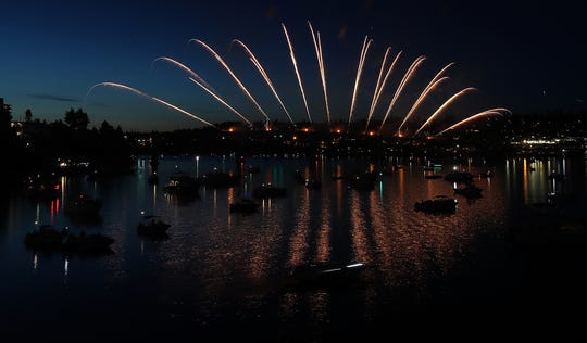 Fireworks light up the sky over the Manette Bridge during the Bremerton Bridge Blast on Saturday, June 29, 2019.