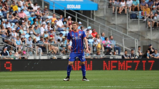 Tommy McCabe started the second half of FC Cincinnati's June 29 match against Minnesota United FC. Minnesota defeated Cincinnati, 7-1.