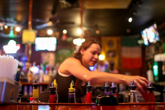 Mixers line up right behind the bar to be utilized by the bartenders at O'Connors Irish Pub and Grill in Clarksville, Tenn., on Friday, June 28, 2019.